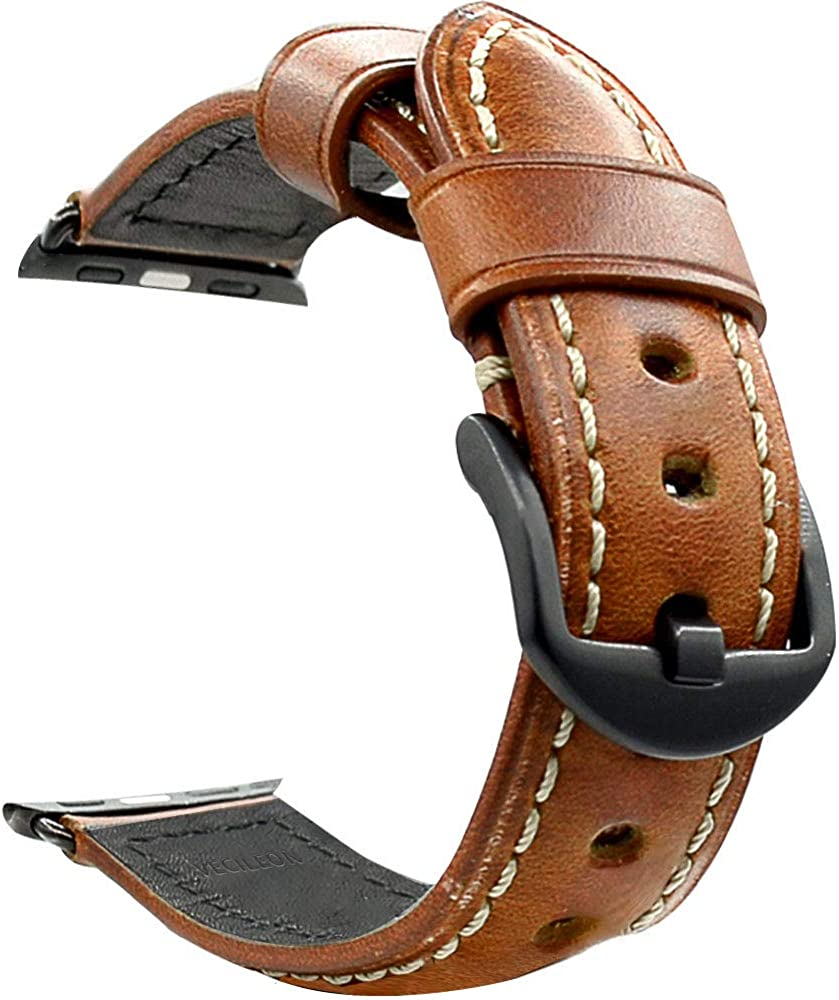 VECILEON Full Grains Italy Calf Leather Strap for Apple Watch Band Series 3 2 1 iWatch Apple Watch Strap Replacement Black Brown 38mm 42mm