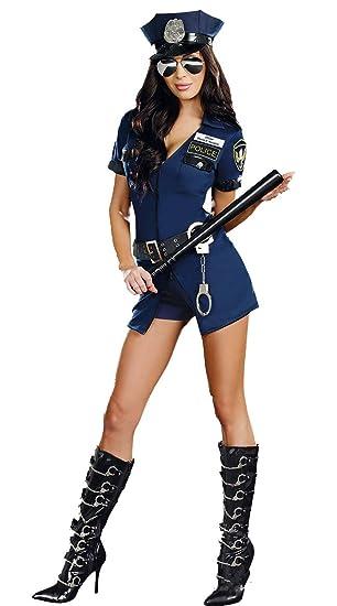 XSQR Sexy Mujer Policía El Uniforme Azul Cremallera Uniforme ...