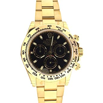 97befbc3519 Image Unavailable. Image not available for. Color  Rolex Cosmograph Daytona  40 Black Dial Gold Men s Watch 116508
