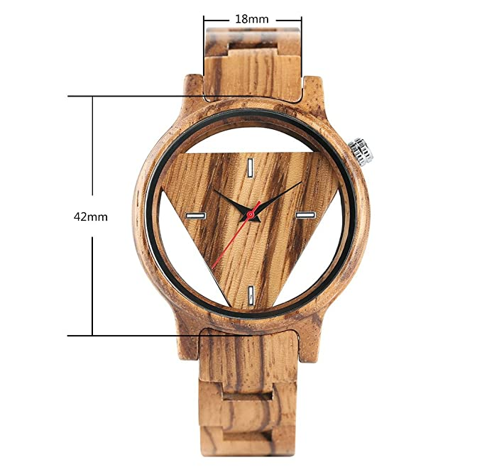 Amazon.com: Entire Wooden Watch, Hollow Triangle Dial, Ultra Light Unisex Wood Wristwatch with Adjustable Band: Watches