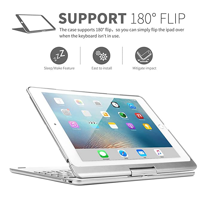 Amazon.com: YiMiky iPad 5th Generation Case with Keyboard, iPad 9.7 Inch Cover 360 Degree Rotating Multi-Angle Viewing Wireless Bluetooth Keyboard Case for ...
