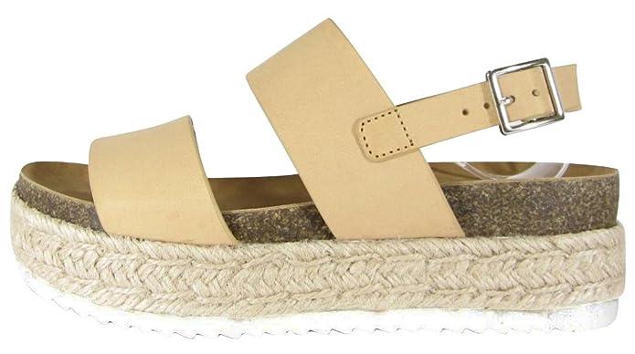 3346d98e070 Cambridge Select Women's Open Toe Two Strap Buckled Slingback Espadrille  Flatform Sandal
