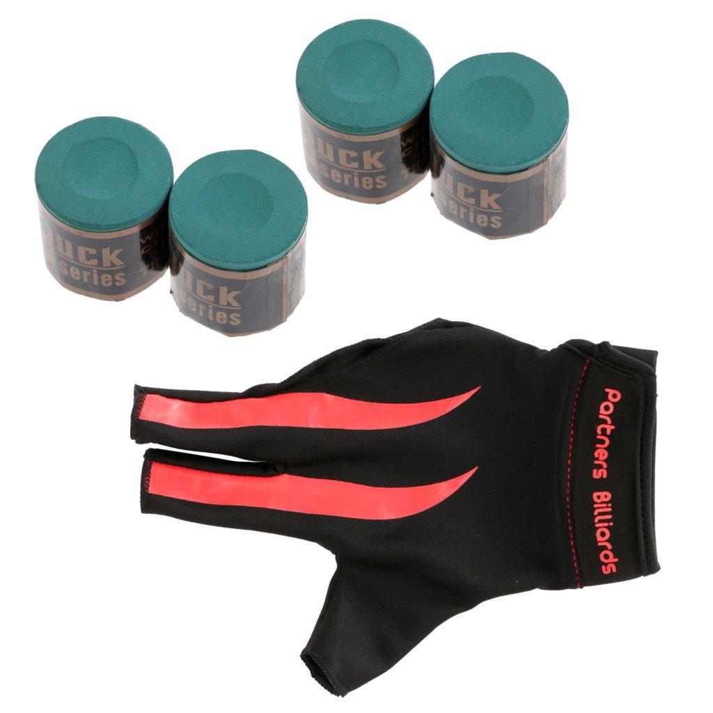 Gazechimp Conjunto de Productos de Billar Guante de Billar de Mano Derecha con Tiza Regalo para Deportista