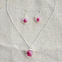 Rosa roja Flor Real Bola de cristal Plata esterlina 925 Juegos de joyas Collar Pendientes