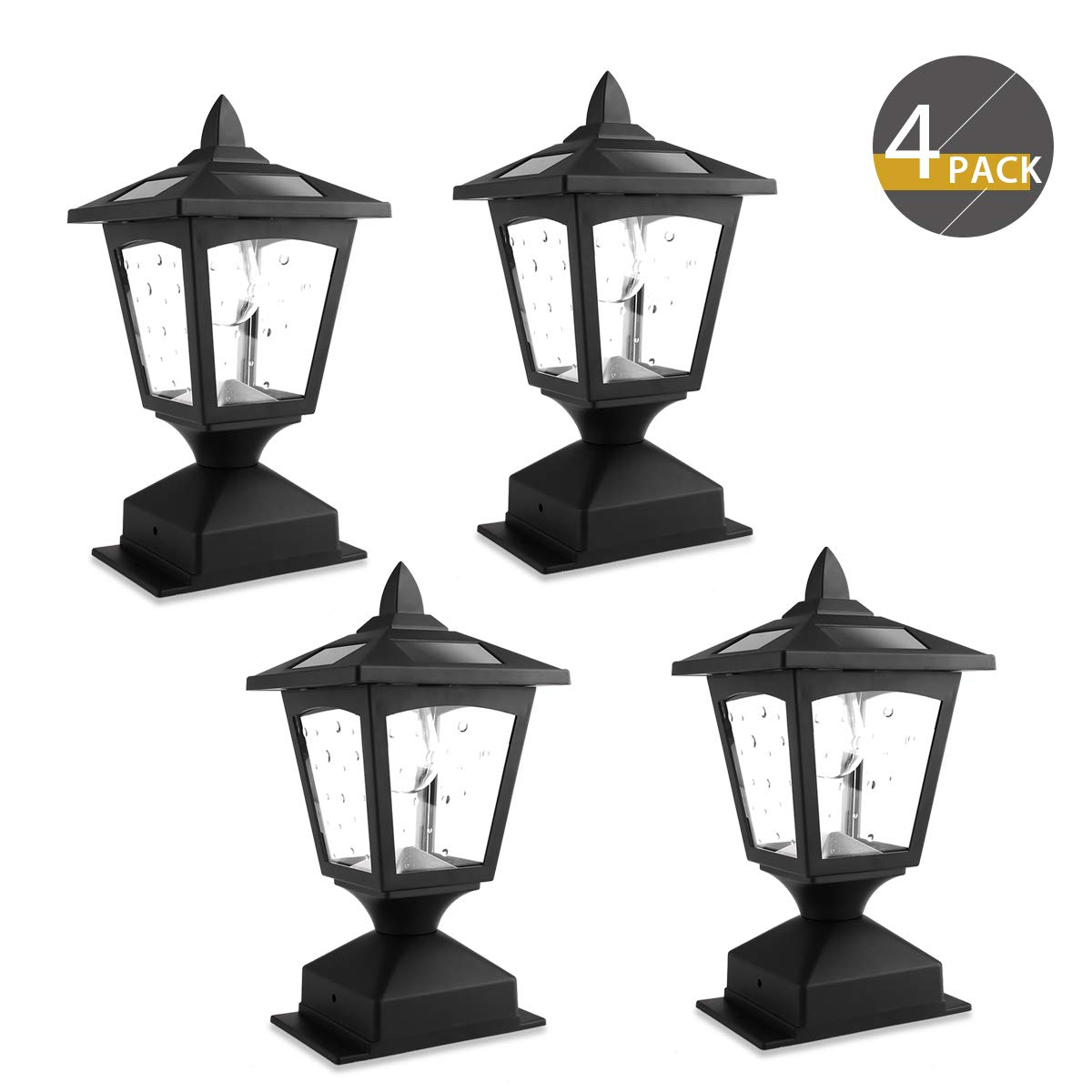 4 x 4 Solar Post Lights Outdoor, Solar Lamp Post Lights for Wood Fence, Deck, Posts Pathway, Pack of 4 by Greluna