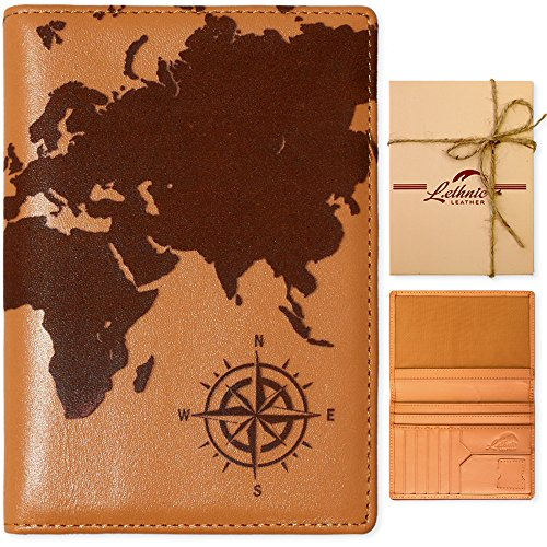 Lethnic Leather Passport Holder Wallet Cover Case RFID Blocking Travel Wallet (World Map) (Tan Brown)