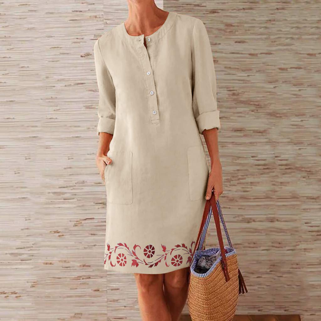 Lazapa Crewneck Tunic Dress Cotton Linen Button Casual Skirt Embroidery Print Dress Casual Simple Work Dress Fashion Wild Long Dresses Suitable for All Occasions