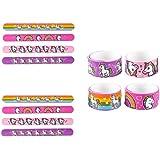 Novelty Treasures Set of 12 BEAUTIFUL Silicone UNICORN and RAINBOW Slap Bracelets Birthday Party Favor Goody Bag Toy