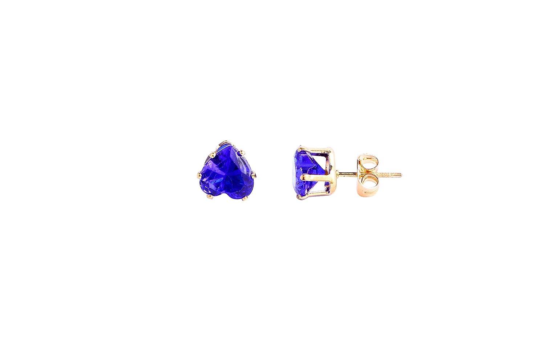 MingJun Heart Flower Square Triangle Round Crystal Earrings Stud Earrings,Pink Green Yellow Red Purple Black