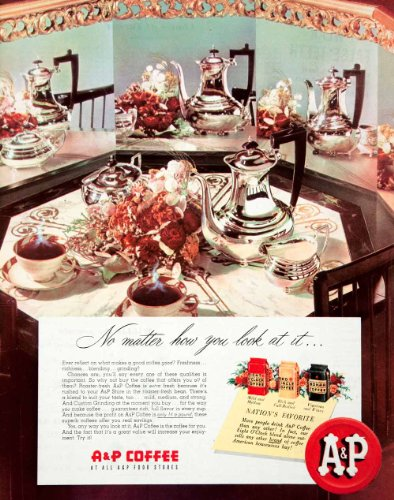 1950 Ad A&P Coffee Food Stores Dinning Table Eight O'Clock Blend Mild Bean Cups - Original Print Ad