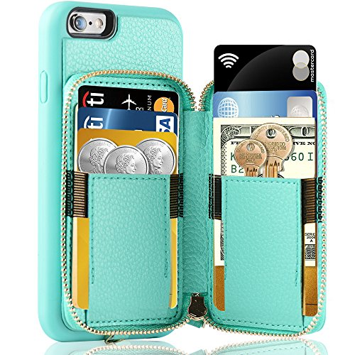 iPhone 6 Plus Wallet Case, iPhone 6 Plus Card Holder Case, ZVE iPhone 6 Plus Leather Cases with Credit Card Slot & Zipper Wallet Purse, Protective Cover for Apple 6 Plus / Apple 6s Plus- Blue