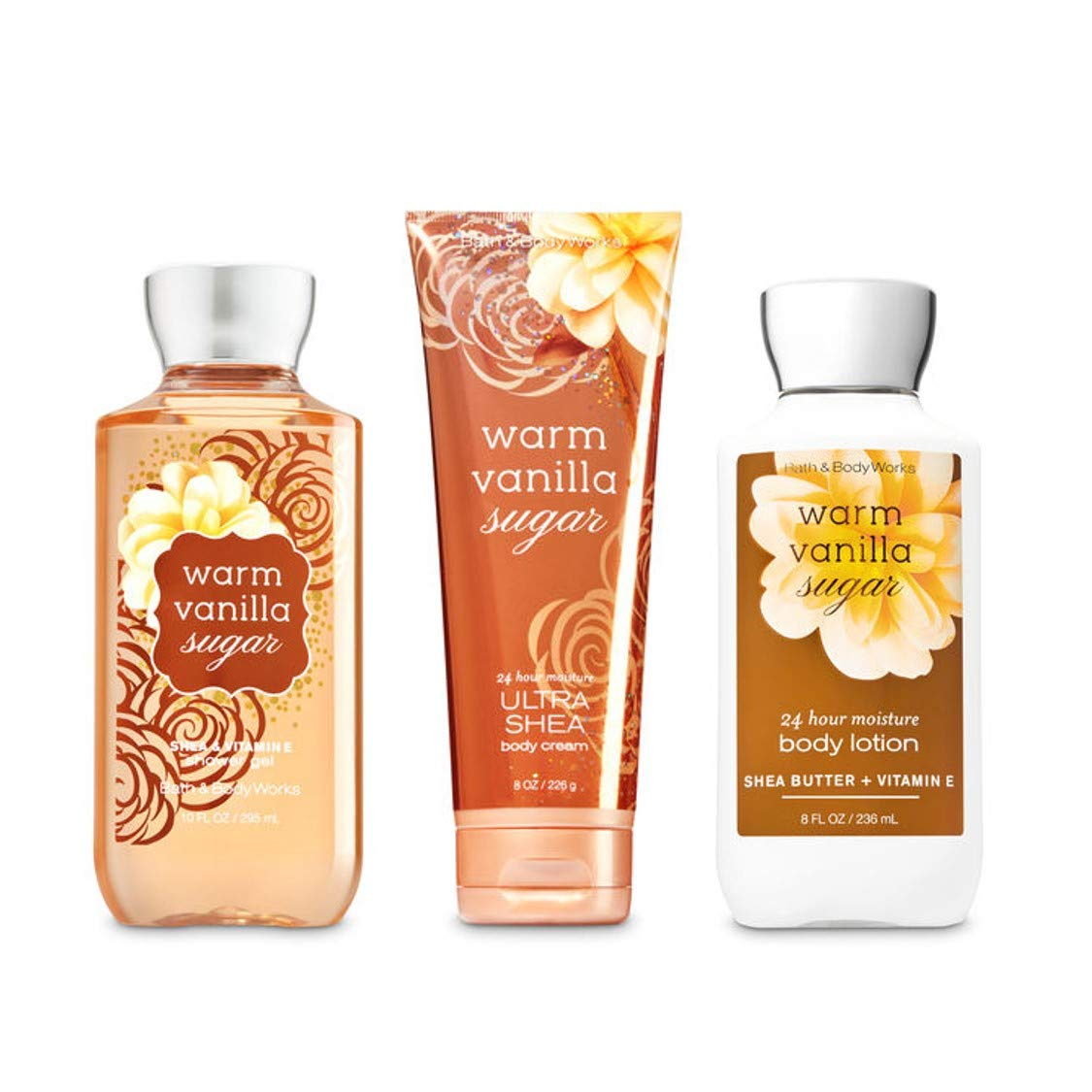 Bath & Body Works Warm Vanilla Sugar Body Set | Shower Gel, Body Lotion & Body Cream by Bath & Body Works