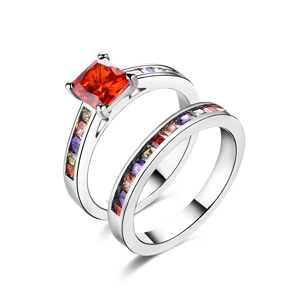 Colorful Cubic Zircon Red Square Solitaire Engagement Couple Ring Wedding Band ForWomne Girl Party Wear by 17maimeng