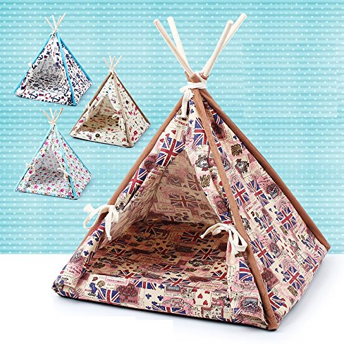 Stock Show 1Pc Removable Washable Wood Frame Canvas Tent Teepee Pet Mat Bed House Hut Portable Pet Supplies for Dog/Puppy/Cat/Kitty/Kitten(Union Flag Pattern, L) (Lodge Pine Tent)