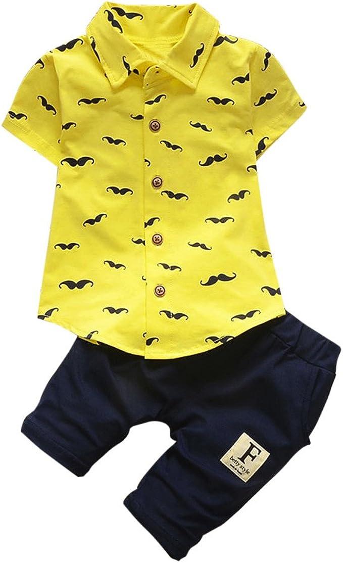 Covermason Conjunto de Bebé Niño, Barba Impresión Mangas Corta Camisa y Pantalones para 0-24M: Amazon.es: Ropa y accesorios