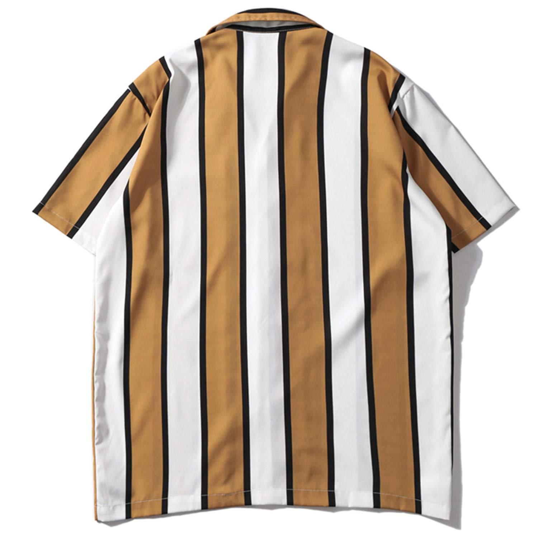 FRE4D3 2019 Casual Stripe Short Sleeve Shirt Men Streetwear Summer Hawaii Beach Women Fashion Loose Short Sleeve Shirts Mens