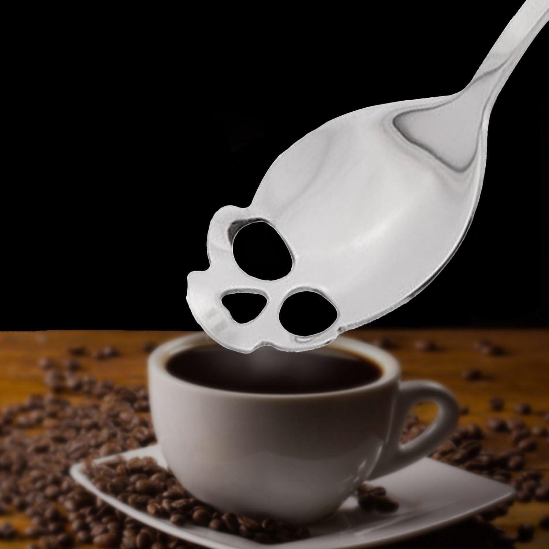 Yaye 304/Edelstahl Totenkopf Tee L/öffel /& Kaffee r/ühren L/öffel und Zucker L/öffel f/ür K/üche 4pcs