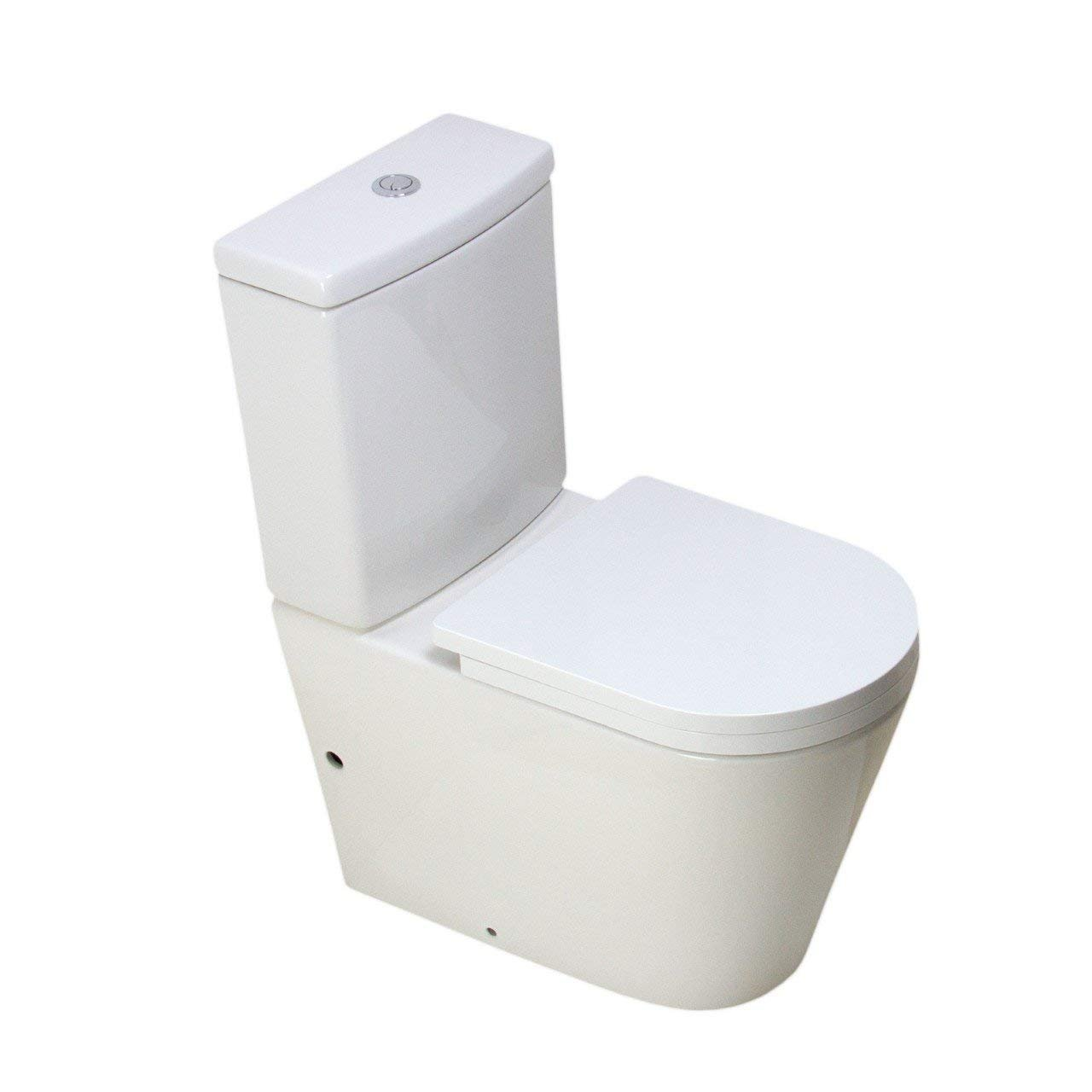 KLARA Toilet WC Close Coupled Bathroom Cloakroom Extra Height Soft Close Seat