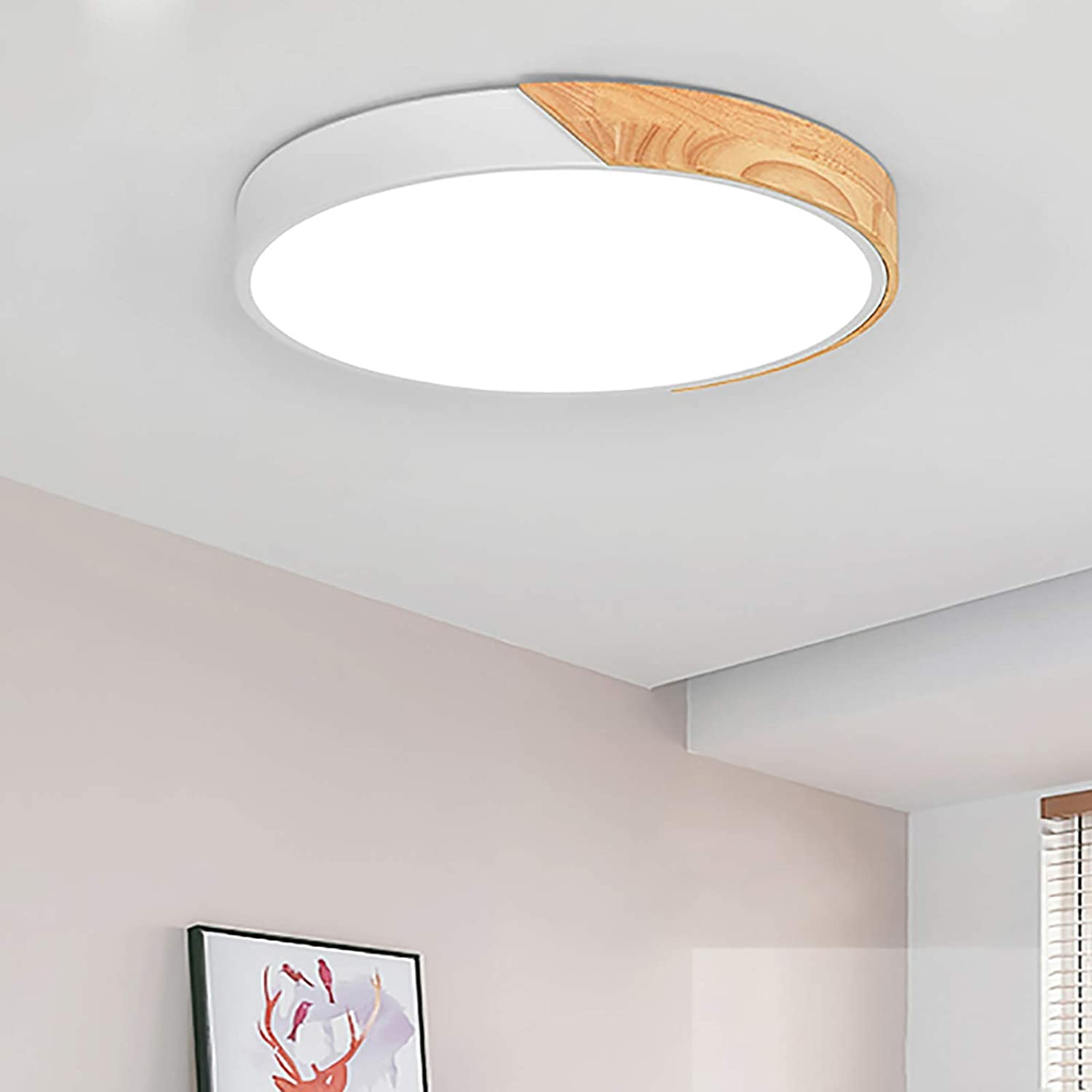 Amazon Com Novo Light Ceiling Light Dimmable 19inch Modern Minimalist Led Round Shaped Wood Metal Acrylic Flush Mount Ceiling Light With Remote Control White Home Improvement