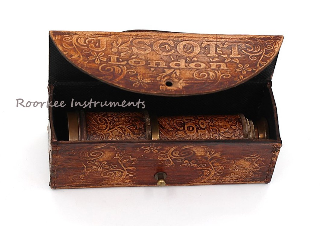 14, J. Scott Stempunk Gift Handheld Pirate Brass Spyglass Telescope with Leather Case//Sailor Home Decor Pirate Captain Boat Gift