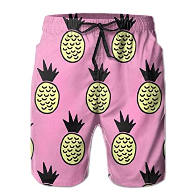 Beach Yoga Pants, Pineapples Yellow Pink Beach Wear Shorts ...
