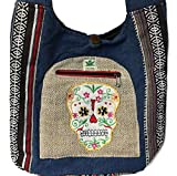 Sugar Skull Hemp & Cotton Sling Hobo Cross Body Hand Crafted Shoulder Bag Purse Bundle Nepal Embroidered Patchwork Design