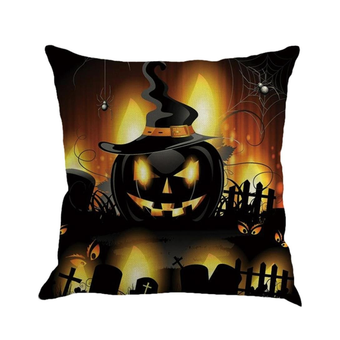 Gotd Vintage Halloween Pillow Covers Decorations Throw Pillow Case Cushion Happy Halloween Decor Clearance Indoor Outdoor Festive Party Supplies (Multicolor C)
