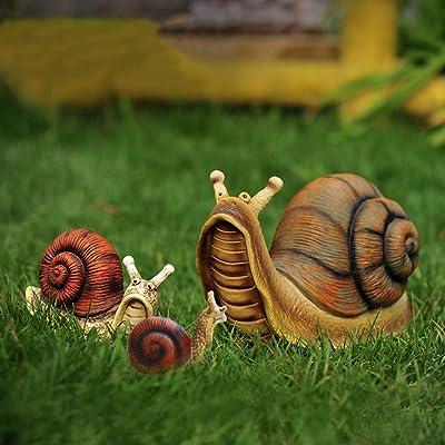 KKONION Garden Statue Snail Figurine Resin Animal Statue Indoor Outdoor Creative Sculpture for Home Yard Lawn Decoration: Home & Kitchen