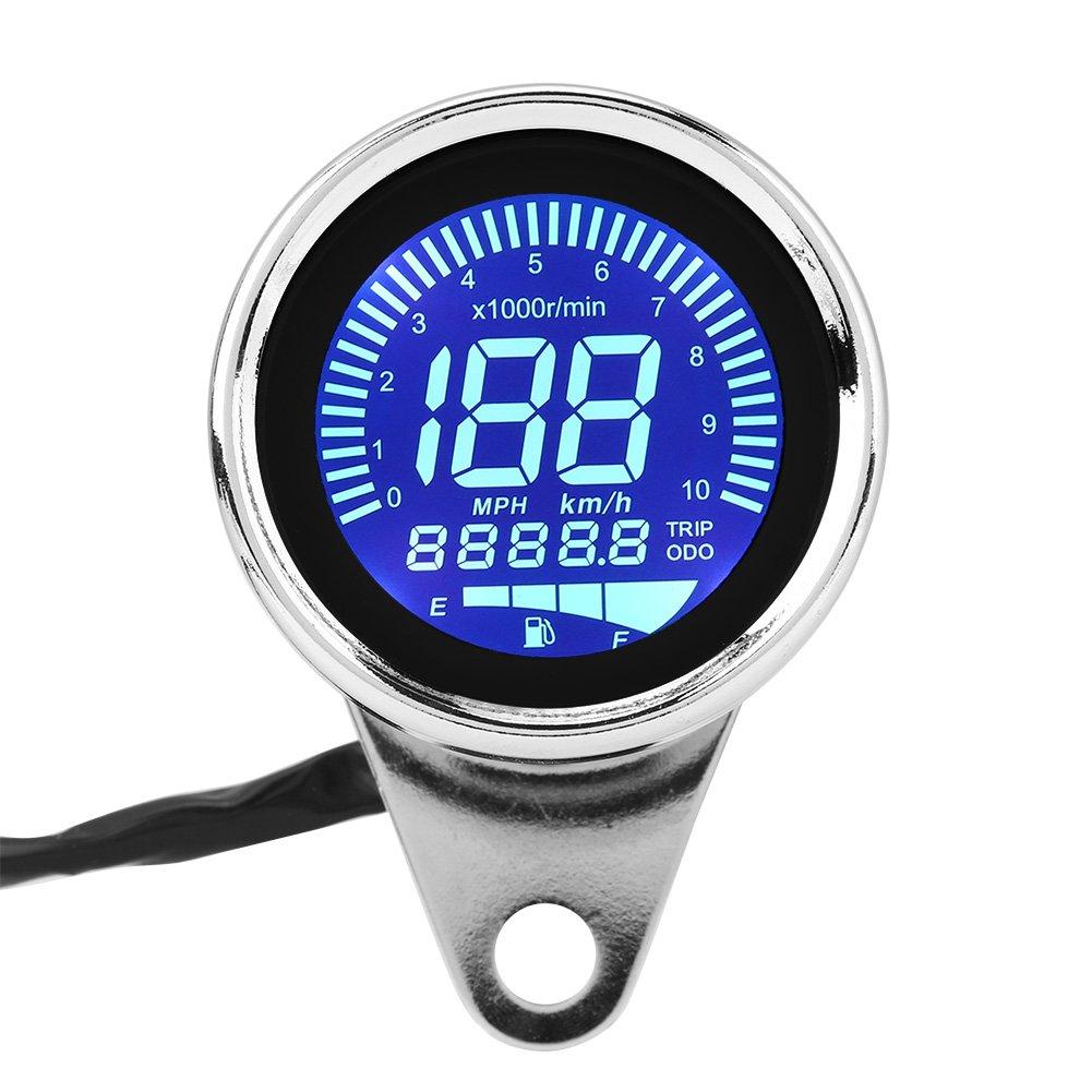 Qii lu Digital Speedometer, Universal Motorcycle Digital LED LCD Speedometer Tachometer Speed Gauge Retro Chrome