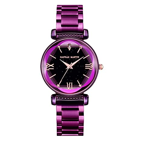 Amazon.com: Hannah Martin Quartz Solid Starry Sky Night Petaloid Dial Watch Full Solid 316L Stainless Steel Wrist Watches (Purple): Watches