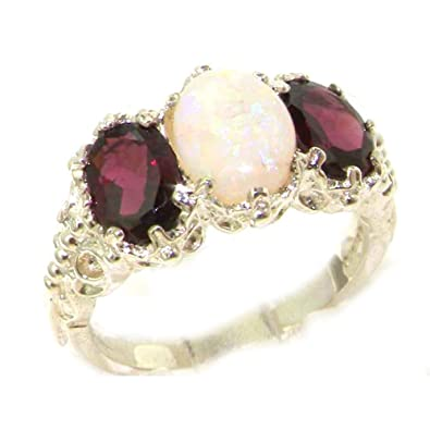 Ladies Solid Sterling Silver Natural Garnet English Victorian Trilogy Ring fL6eif