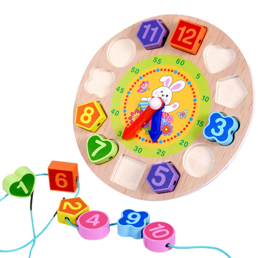 BabyPrice Wooden Teaching Time Clock Toys, Shape Sorting Games Learning Number Tools Lacing Beads Education Puzzle Toy