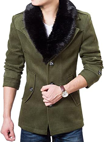 Fensajomon Mens Fall Winter Plus Size Casual Hooded Trench Coat Jacket