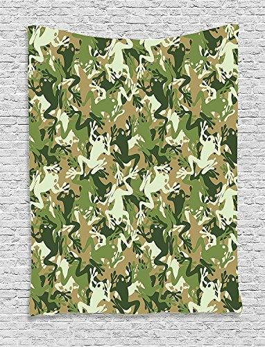 XHFITCLtd Animal Decor Tapestry, Skull Camouflage Military Design With Various Frog Pattern Different Tones Artprint, Bedroom Living Room Dorm Decor, 40 W x 60 L Inches, Sage Pine ()