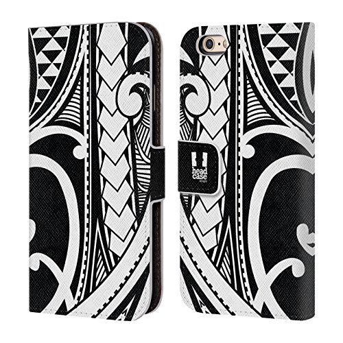 Head Case Designs Ornate Swirl Samoan Tattoo Leather Book Wallet Case Cover for iPhone 6 / iPhone 6s (Case Samoan Tattoo Iphone 6)