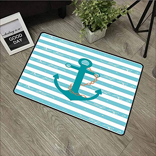LOVEEO Crystal Velvet Doormat,Teal Ship Anchor Chain Marine Life Inspired with Lined Background Ocean Sailing,Super Absorbs Mud,31
