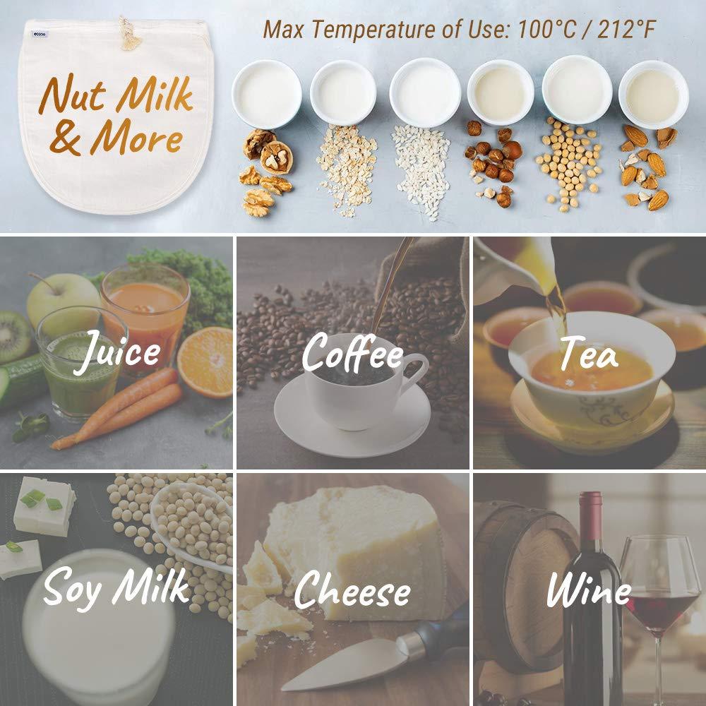 Ecooe 2 pcs Bolsa de Leche Nuez para Colar Leche de Almendras, Zumos y Batidos de Frutas,Bebidas Vegetales,ect Telas Filtrantes Reutilizable Hecho de ...