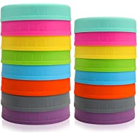 Aozita [16 Pack] Colored Plastic Mason Jar Lids Fits Ball, Kerr & More - 8 Wide Mouth & 8 Regular Mouth - Food-Grade Storage Caps for Canning Jars - Anti-Scratch Resistant Surface