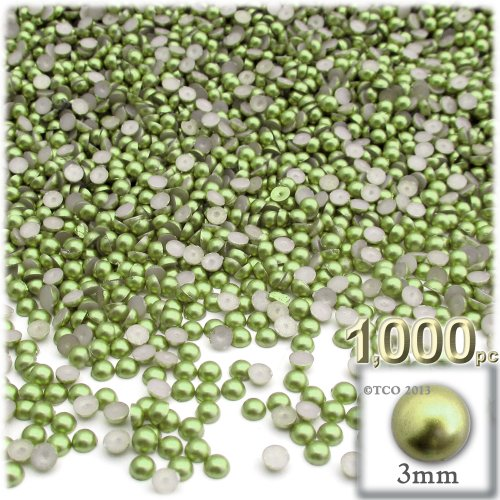 The Crafts Outlet 1000-Piece Pearl Finish Half Dome Round Beads, 3mm, Grass Green ()