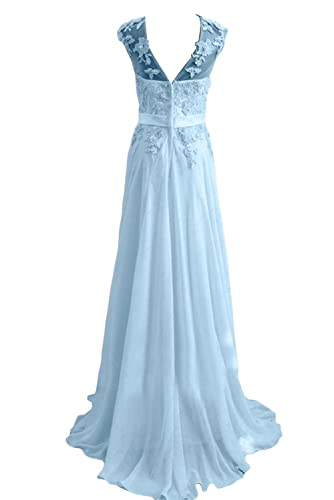 TOSKANA BRAUT Damen Chiffon Lang Rundkragen Aermellos Abendkleider  Promkleider Festkleider FBA2574 (178374): Amazon.de: Bekleidung