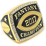 2017 Fantasy Football Champion Ring - Gold or Silver Finish - Heavy FFL Studded League Championship Winner Trophy - Champ Ring Award with Stand - Decade Awards