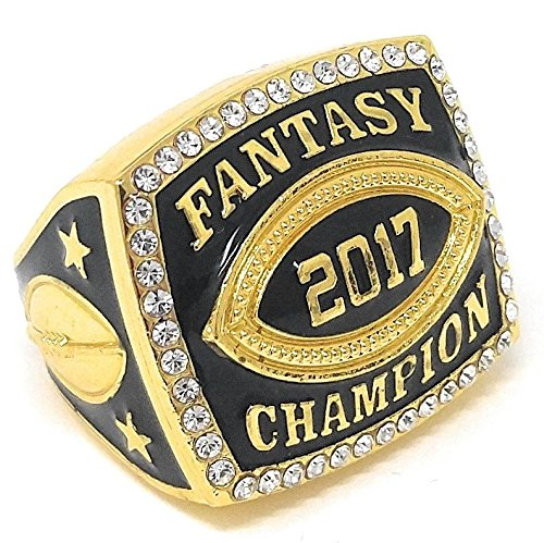 Border Award - Decade Awards 2017 Fantasy Football Champion Ring with Rhinestone Border | Heavy Gold FFL League Champ Ring with Stand - Size 9 (Gold 9)