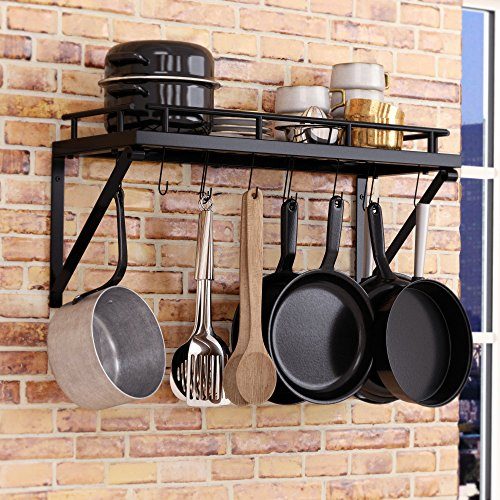 Pot Rack Organizer with Upgraded Hardware, Support Brackets & Welds, Wall Hanging Pot and Pan Organizer, 12 Hooks Included, Easy to Install, Kitchen Organization Solution for Heavy Pots and Pans by Mainroom Studios (Image #2)