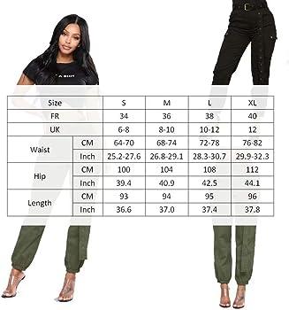 Femme Pantalon Cargo Taille et Bas Elastique Pantalon Chino Femme avec  Poches Plaquées à Rabat aux Côtés Taille Grande. Frecoccialo Femme Pantalon  ... 0bd5c6eab6e