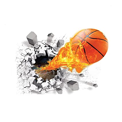 Molie 3D Basketball Wall Stickers Flying Fire Basketball Self-adhesive Removable PVC Art Room Decals Murals Home Decoration basketball stickers for ...