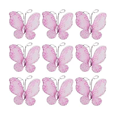 PIXNOR 50pcs Butterflies Set, Wire Glitter Butterfly for Home and Wedding Decoration (Pink): Toys & Games