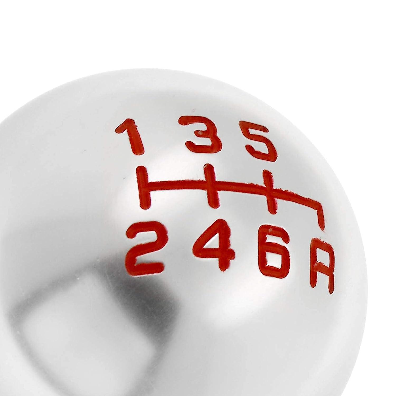 ENET Auto Gear Shift Knob 6/Speed Rund Silber Aluminium Ball MT Manuelle Universal
