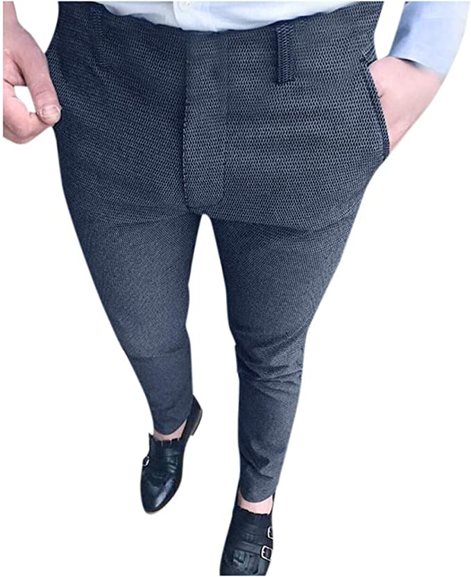 Herren Chinoshose Hochzeit Freizeithose Business Hose Pants Slim Anzughose Mode