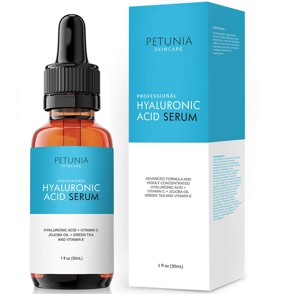 Petunia Skincare Hyaluronic Acid Serum with Vitamin C For Face, Hydrate and  Plump Dry Skin, Boost