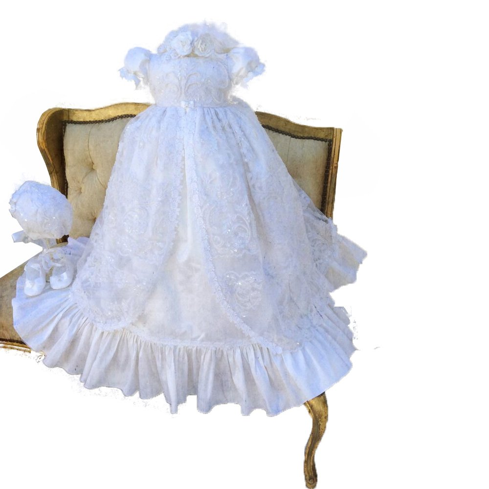 Fenghuavip Stylish Short Sleeve Long Infant Christening Gowns for Baby Girls